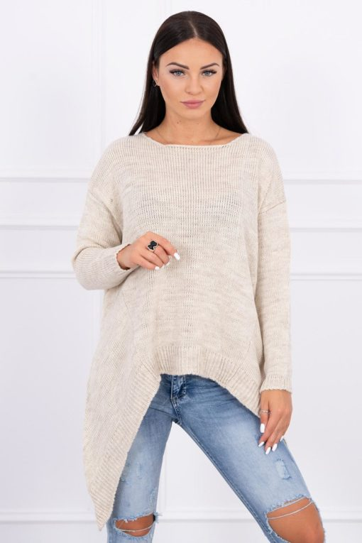 Eng Pl Sweater With Longer Sides Light Beige