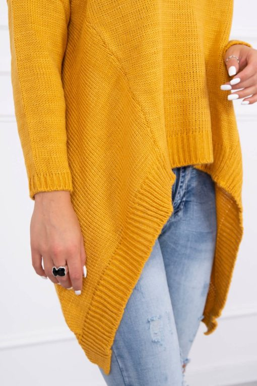 Eng Pl Sweater With Longer Sides Mustard