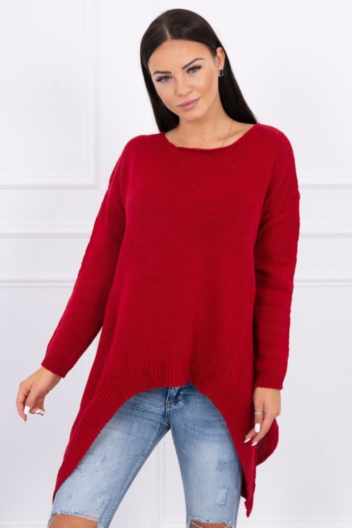Eng Pl Sweater With Longer Sides Red