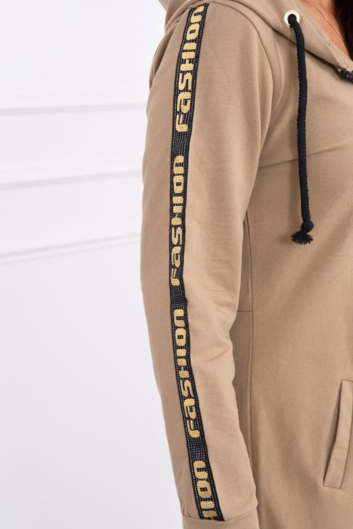 Eng Pl Sweatshirt With Zip At The Back Camel