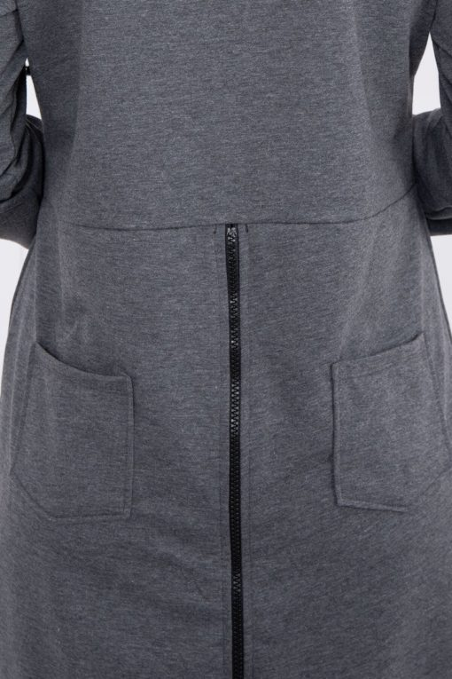 Eng Pl Sweatshirt With Zip At The Back Graphite Melange
