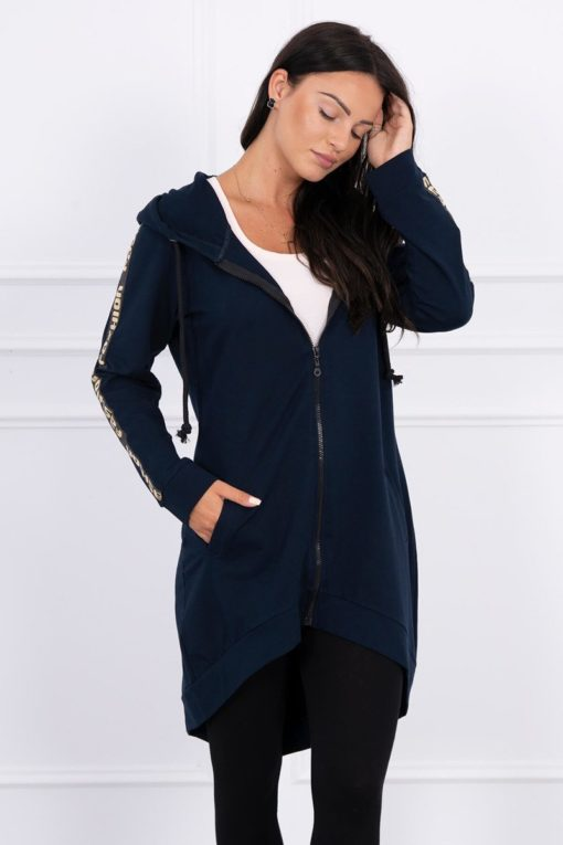 Eng Pl Sweatshirt With Zip At The Back Navy Blue
