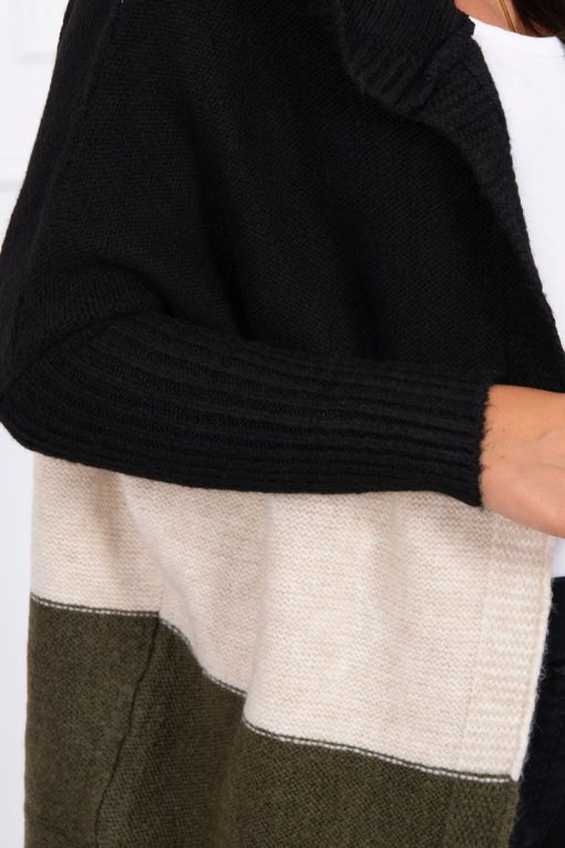 Eng Pl Three Color Hooded Sweater Black Beige Khaki