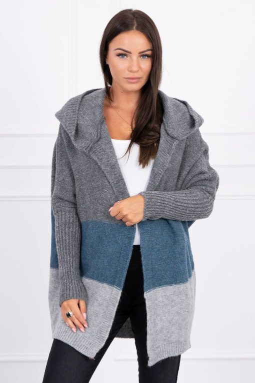 Eng Pl Three Color Hooded Sweater Graphite Azure Gray