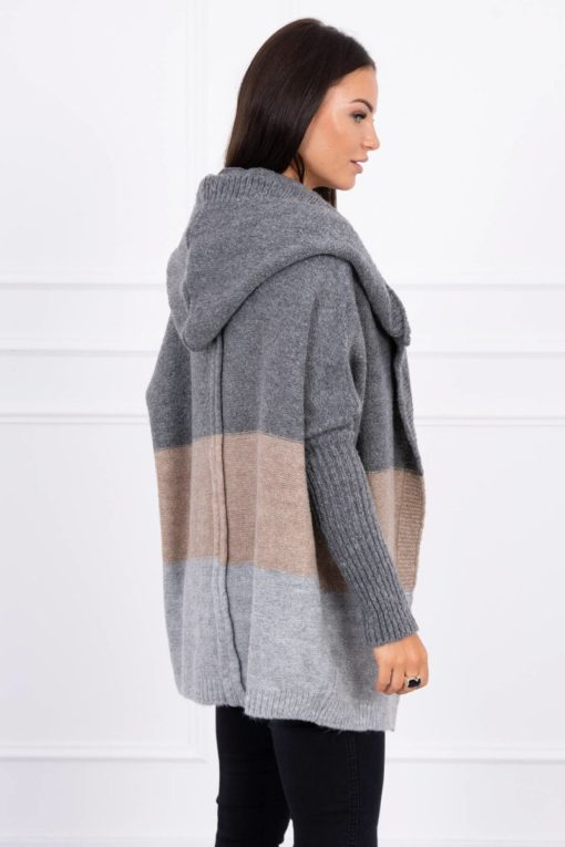 Eng Pl Three Color Hooded Sweater Graphite Beige Gray