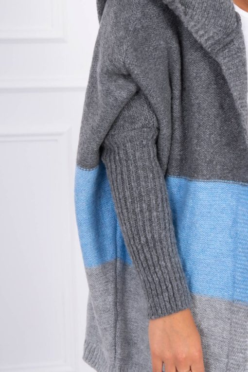 Eng Pl Three Color Hooded Sweater Graphite Blue Gray