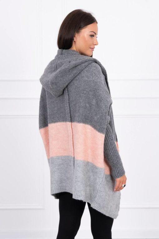 Eng Pl Three Color Hooded Sweater Graphite Powdered Pink Gray