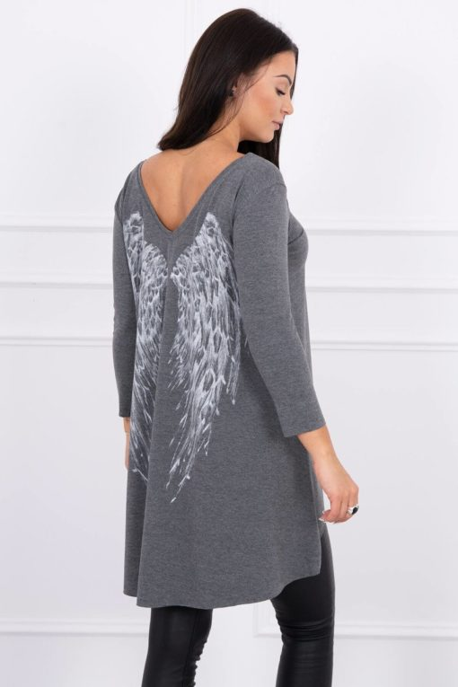 Eng Pl Tunic With Wings Print Graphite