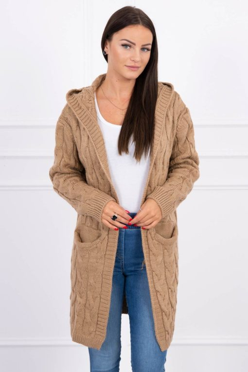 Eng Pl Sweater With Hood And Pockets Camel
