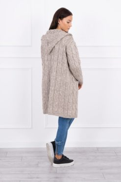 Eng Pl Sweater With Hood And Pockets Dark Beige