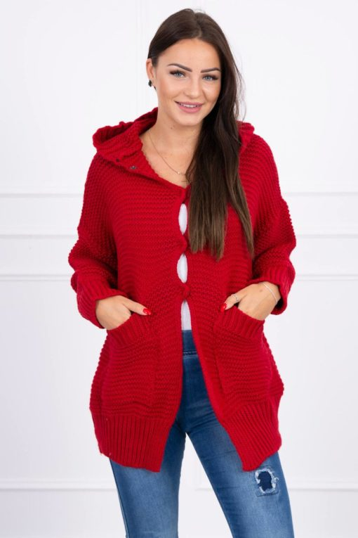 Eng Pl Sweater With Press Studs Red
