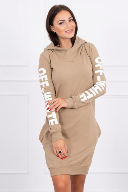 Eng Ps Dress Off White Camel