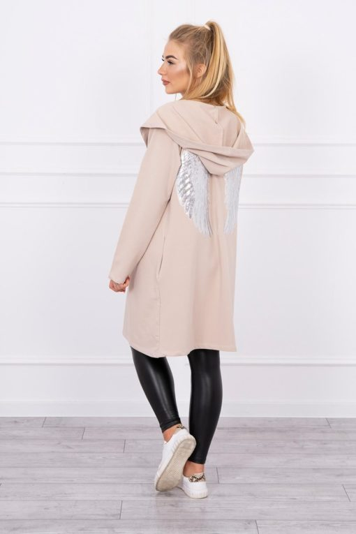 Eng Pl Cardigan With Sequin Wings Beige