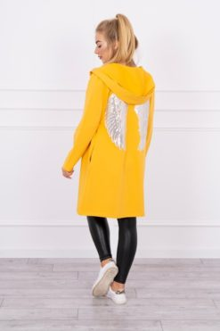 Eng Pl Cardigan With Sequin Wings Mustard
