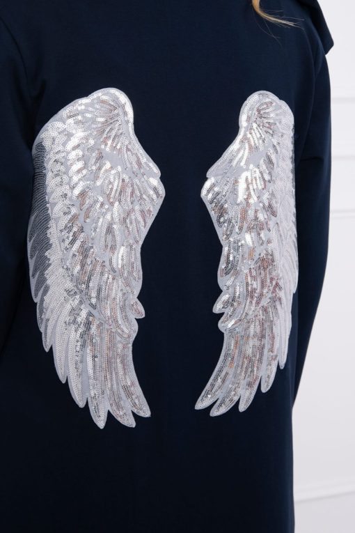 Eng Pl Cardigan With Sequin Wings Navy Blue