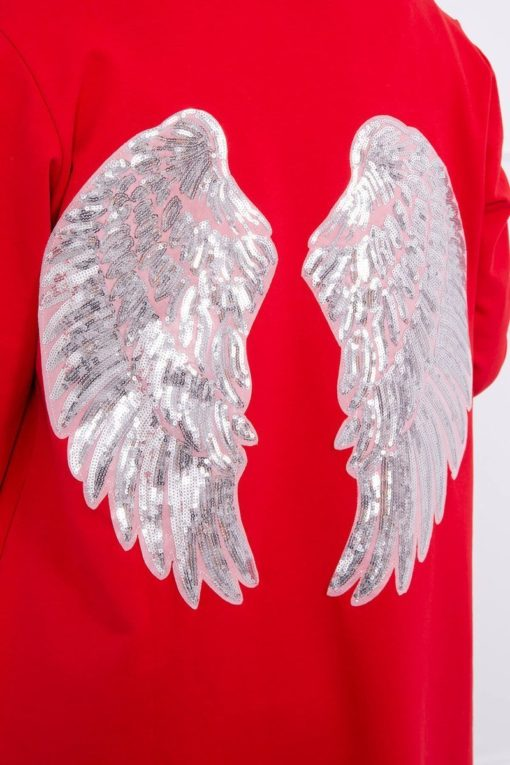 Eng Pl Cardigan With Sequin Wings Red