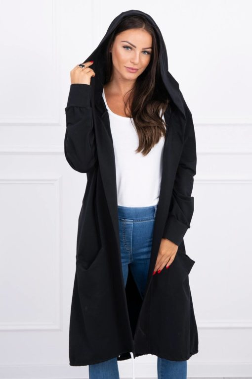 Eng Pl Cape With A Hood Oversize Black