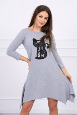 Eng Pl Dress Black Cat Gray