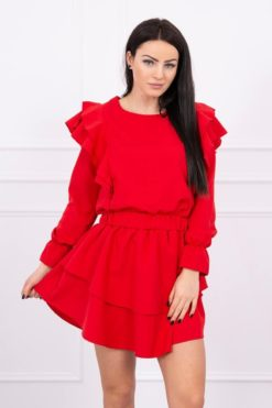 Eng Pl Dress With Vertical Flounces Red