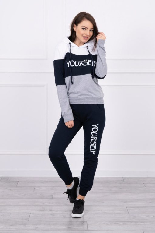 Eng Pl Set With Print Yourself White Navy Blue