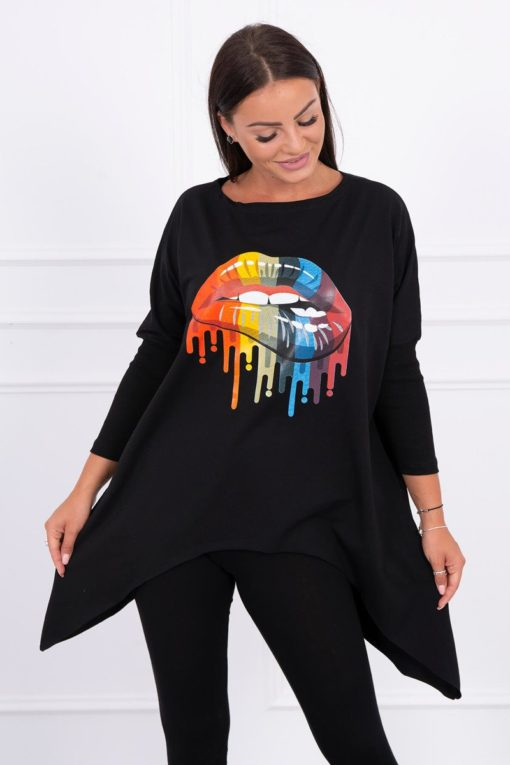 Eng Pl Blouse Oversize With Rainbow Lips Print Black