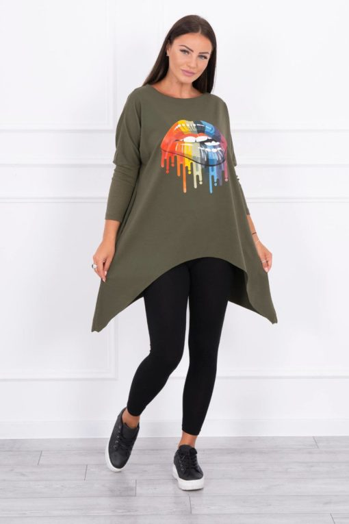 Eng Pl Blouse Oversize With Rainbow Lips Print Khaki