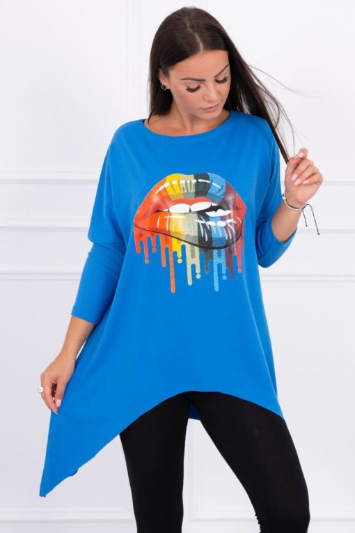 Eng Pl Blouse Oversize With Rainbow Lips Print Mauve Blue