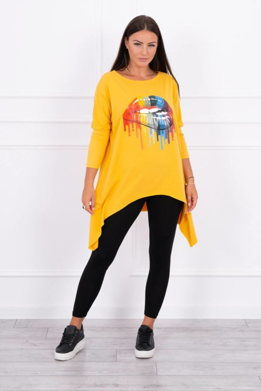 Eng Pl Blouse Oversize With Rainbow Lips Print Mustard