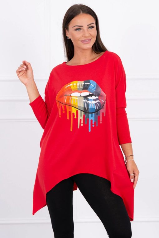 Eng Pl Blouse Oversize With Rainbow Lips Print Red