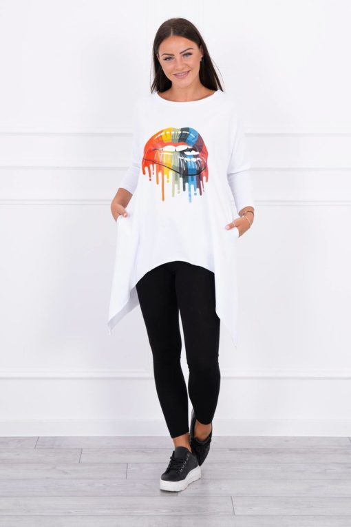 Eng Pl Blouse Oversize With Rainbow Lips Print White