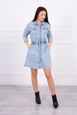 Eng Pl Stretch Denim Dress S M L Xl