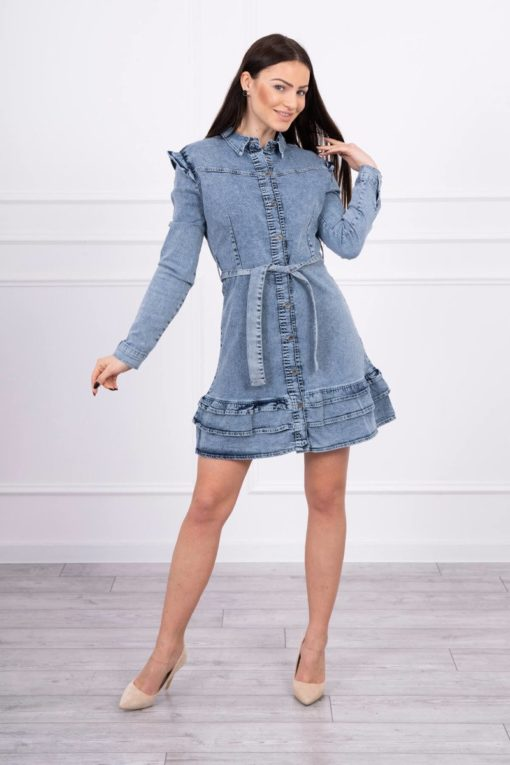 Eng Pl Stretch Denim Dress With A Flared Bottom S M L Xl