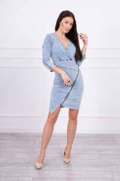 Eng Pl Stretch Denim Dress With A Slanted Zip S M L Xl