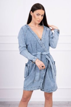 Eng Pl Stretche Denim Dress With A Button Closure S M