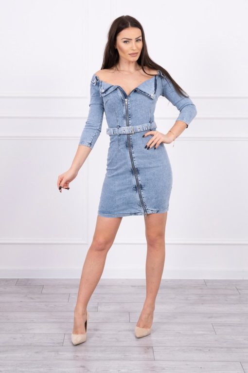 Eng Pl Stretched Denim Dress With A Collars S M L Xl
