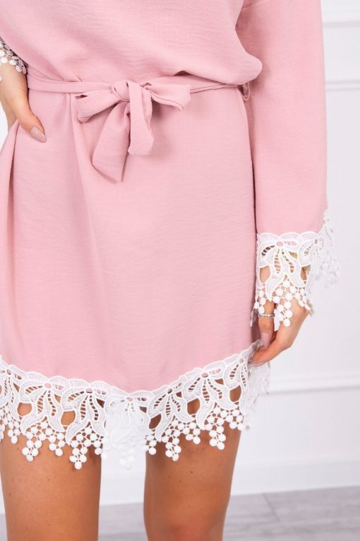 Eng Pl Dress With Lace Tied At The Waist Dark Pink