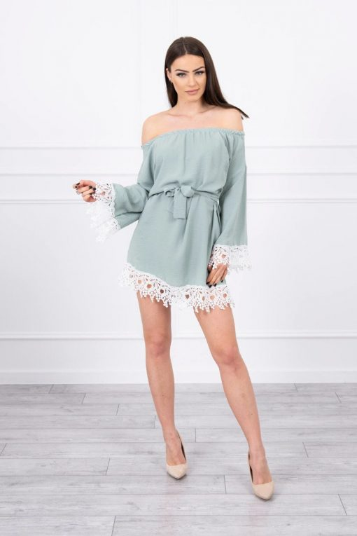 Eng Pl Dress With Lace Tied At The Waist Mint