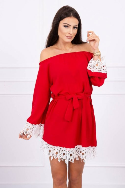 Eng Pl Dress With Lace Tied At The Waist Red