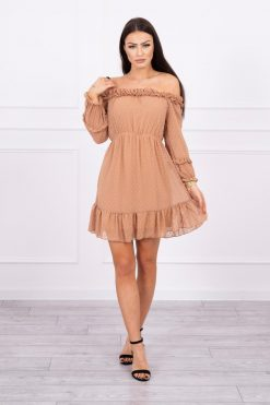 Eng Pl Off The Shoulder Dress With Frills Camel