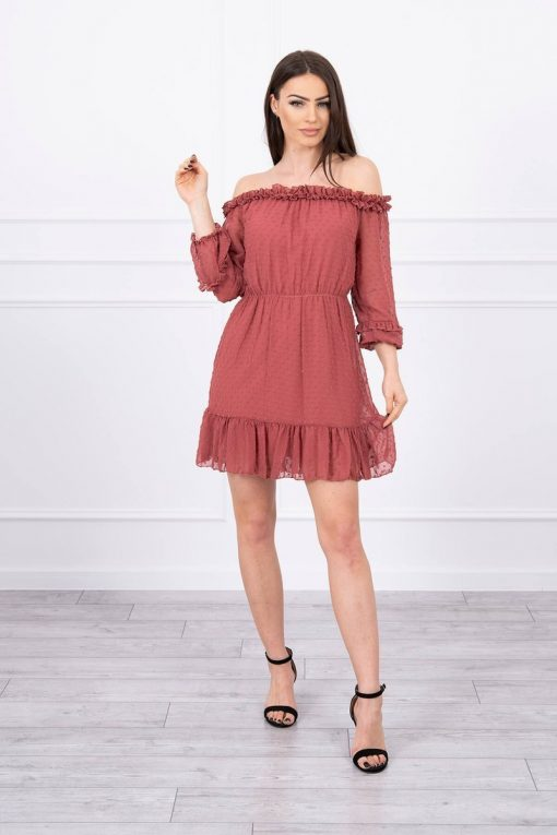 Eng Pl Off The Shoulder Dress With Frills Raspberry