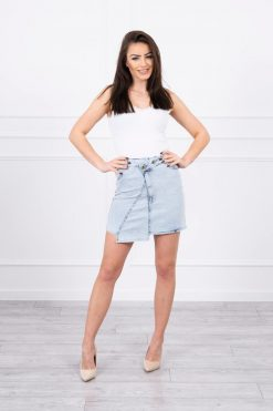 Eng Pl Stretch Denim Skirt With Longer Front S M L Xl