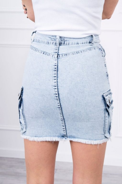Eng Pl Stretch Denim Skirt With Pockets On The Sides S M L Xl
